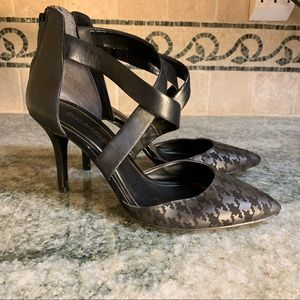 Enzo Angolini Houndstooth Cross Strap Pumps